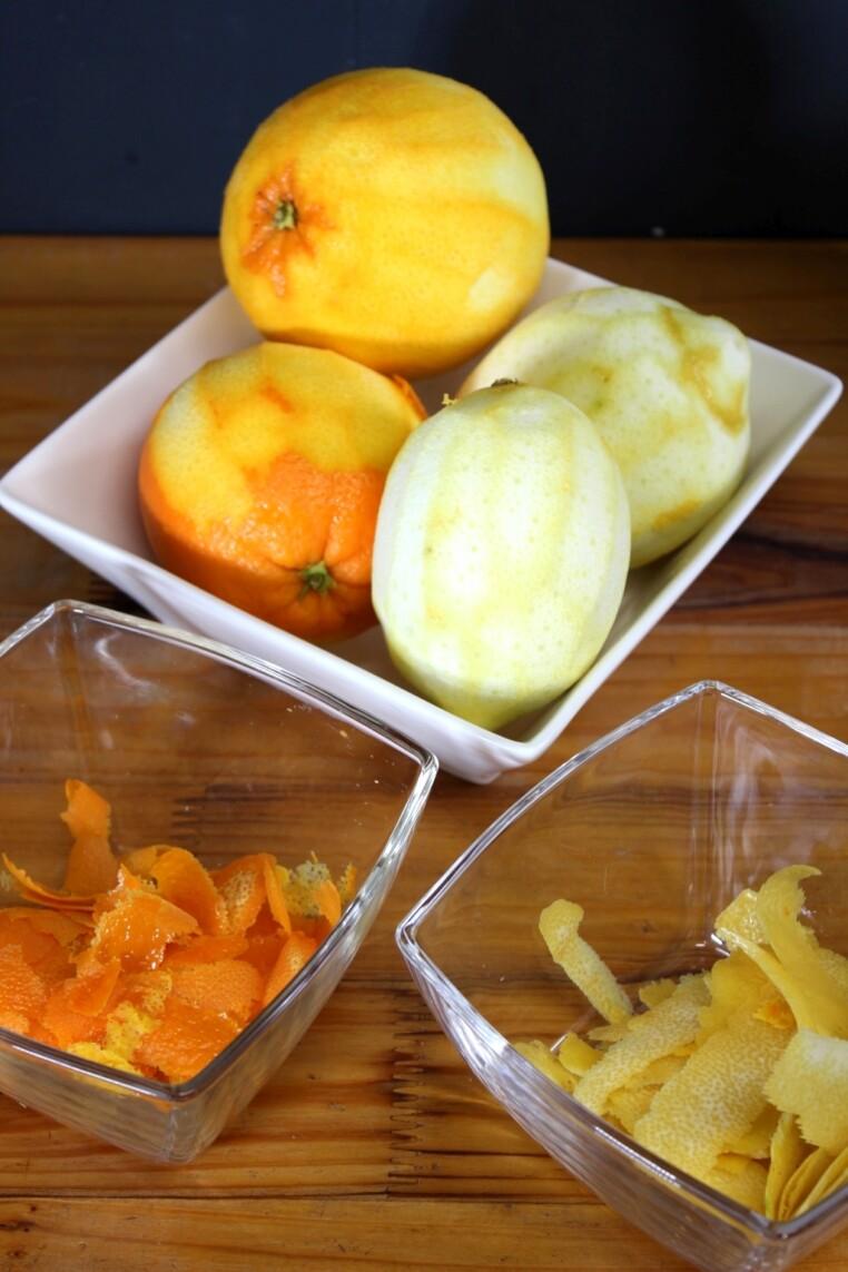 Orangen und Zitronen schälen